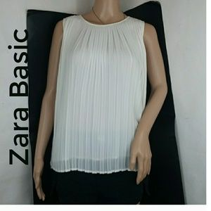 Zara Basic Pleated White Blouse Top